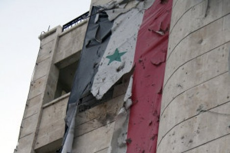 Photo dated 10 Feb, 2012 of damage in Aleppo after two car bombs exploded.