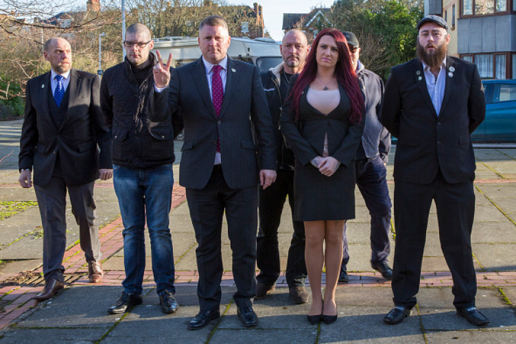 Britain First leaders Paul Golding and deputy leader Jayda Fransen and entourage arriving at Folkestone Magistrate Court.