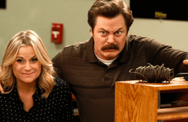 amy poehler and nick offerman are reuniting for the most wholesome show of all time. Black Bedroom Furniture Sets. Home Design Ideas