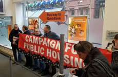 Grafton Street branch of PTSB occupied by anti-vulture fund demonstrators