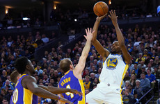 With Steph, Draymond and Klay all missing, Kevin Durant leads Warriors past Lakers