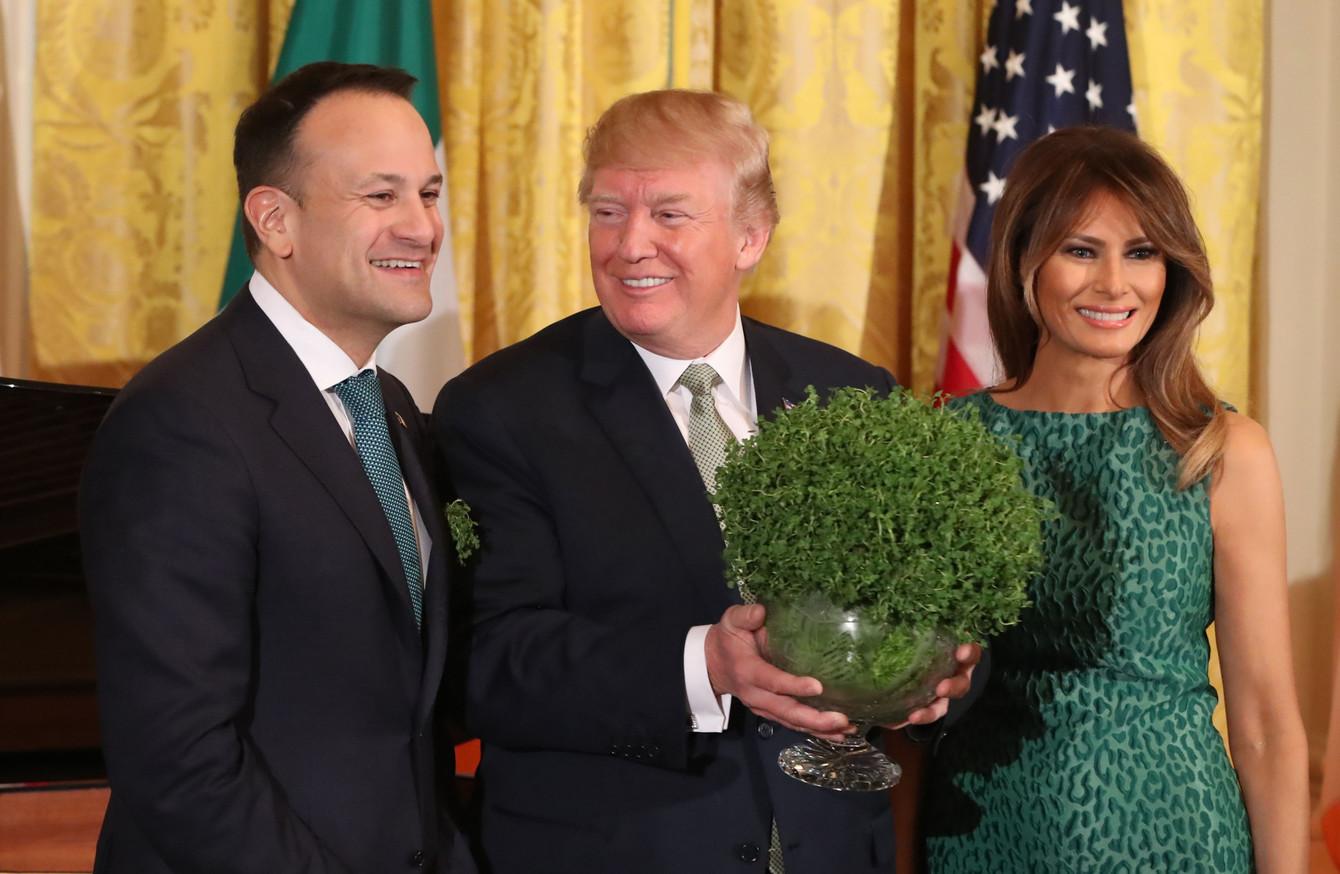 Leo Varadkar presents Donald Trump with bowl of shamrock in St