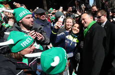 Irish flags, selfies and Leo chants: Taoiseach gets a pep in his step walking down Fifth Avenue