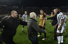 Greek owner who invaded pitch with gun handed three-year ban
