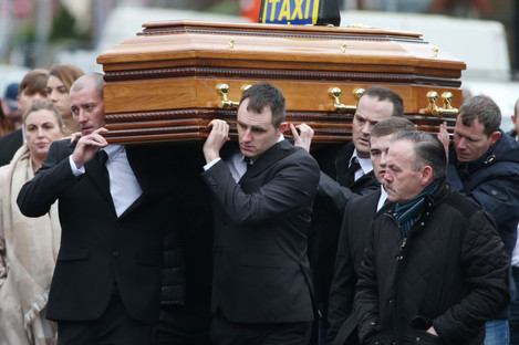 Pictured at front of coffin are Gareth and Derek Hutch carrying the body of Eddie Hutch Snr. Both pall-bearers are now dead.
