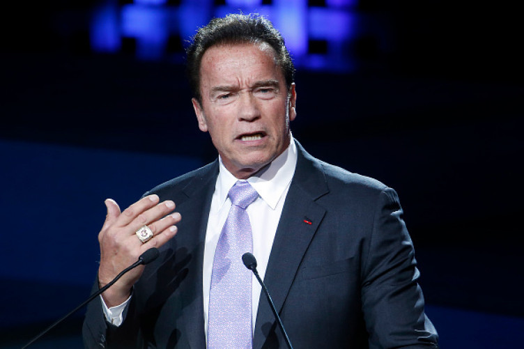 Arnold Schwarzenegger delivering a speech at the One Planet Summit in Paris on 12 December 2017