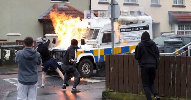 Photos: Police vans pelted with petrol bombs ahead of republican parade in Derry