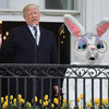 The Trumps stood beside a giant bunny today and Donald hailed his military spending