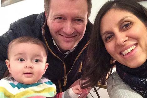 Jailed British mother Nazanin Zaghari-Ratcliffe with her husband Richard Ratcliffe and their daughter Gabriella.