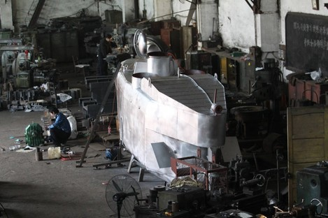 A submarine takes shape in Zhang Wuyi's workshop