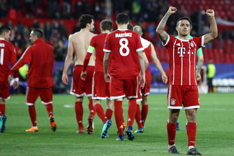 Thiago salutes fans at the final whistle.