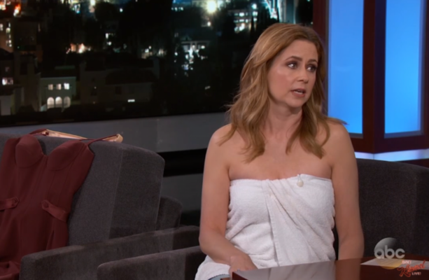 Pam From The Office Had To Wear A Towel On Jimmy Kimmel