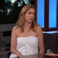 Because of a wardrobe malfunction, Jenna Fischer from The Office wore a towel on Jimmy Kimmel Live