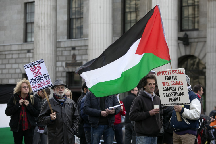O'Connell Street in Dublin during a protest in solidarity with Palestine.