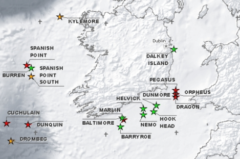 A map from the Providence Resources website showing the various oil and gas prospects it is examining off Irish waters.