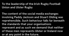 Campaigners take out newspaper ad demanding Paddy Jackson not play for Ireland or Ulster again