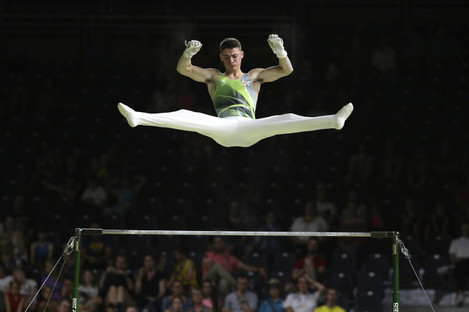 Northern Ireland's Rhys McClenaghan competes on the parallel bars at the men's artistic gymnastics competition at Coomera Indoor Stadium during the Commonwealth Games on the Gold Coast, Australia this week..