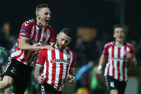 Derry's Rory Patterson celebrates scoring (file pic).