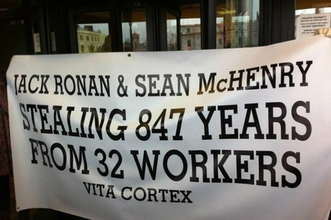 A group of the workers protested at the home of retired Vita Cortex Director Sean McHenry in Douglas earlier this week.