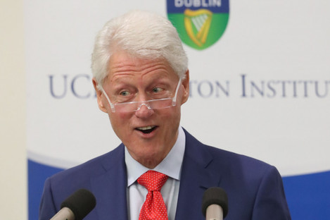 Former US President Bill Clinton during his speech to the University College Dublin last night.