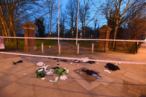 File photo of blooded clothes on the ground near the scene in Grove Road, Mile End, east London following reports of a stabbing.