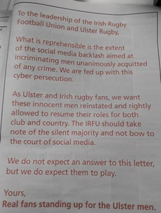 'Cyber persecution' - Ulster Rugby fans take full page ad calling for Paddy Jackson, Stuart Olding to be reinstated to team