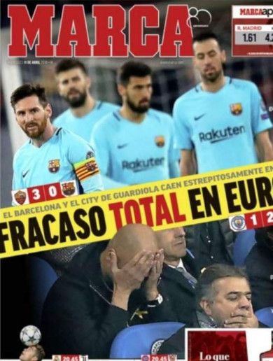 'Failure without excuses': Spanish press tear Barcelona apart after Rome capitulation