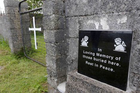 The grounds where the unmarked mass grave containing the remains of nearly 800 infants who died at the Bon Secours mother-and-baby home in Tuam Co Galway from 1925-1961 rests.