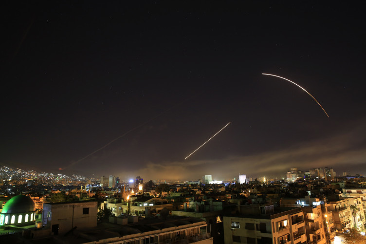 Missiles streak across the Damascus skyline this morning.