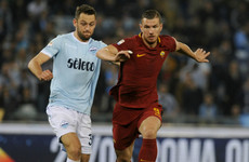 Dzeko misses late chance as 10-man Lazio earn derby draw with Roma