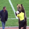 Russian football team criticised for using bear to present referee with the match ball