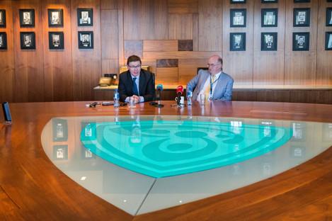 GAA Director-General Tom Ryan and President John Horan at yesterday's briefing.