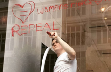 A Wexford fashion designer used the window of Selfridges in London to protest the 8th amendment