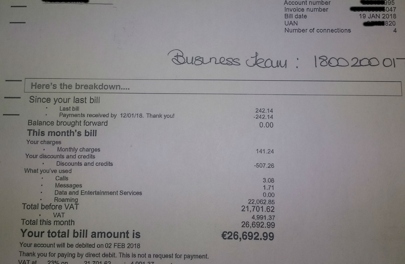 Man receives €26,692 mobile bill from Three after returning