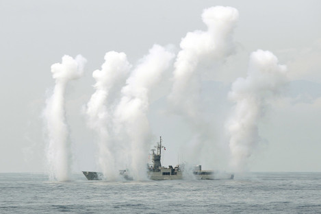 A Taiwan Navy's Knox-class frigate fires chaff during a navy exercise in the bound of Suao naval station in Yilan County, earlier this month.