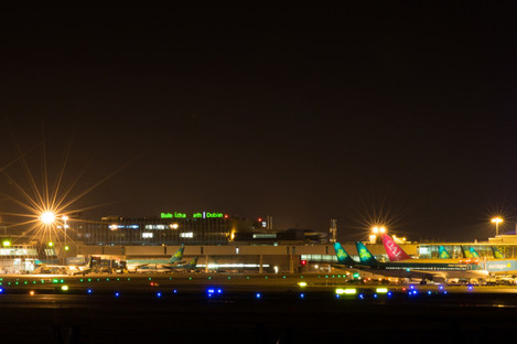 Dublin Airport by night.