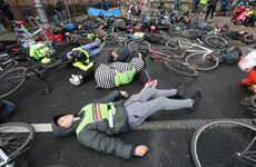 Cyclists stage lie-down protest outside Leinster House calling for greater road safety