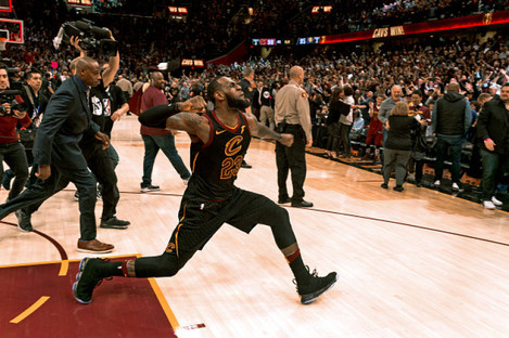 LeBron celebrates the winning moment.