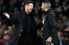 Simeone charged by Uefa and faces touchline ban after being sent to the stands during Arsenal clash