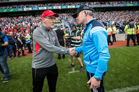 Tyrone manager Mickey Harte with Dublin boss Jim Gavin after last year's All-Ireland senior football semi-final.