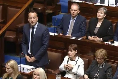 Leo Varadkar speaking in the Dáil during Leaders' Questions a short time ago.