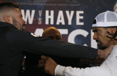 Bellew shoves Haye during face-off as tensions rise ahead of Saturday's rematch