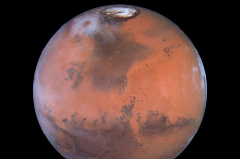 Mars as seen through the Hubble Space Telescope.