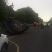 Car overturns after two-car crash in Dublin's Phoenix Park
