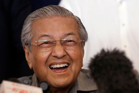 Mahathir Mohamad at a press conference in Kuala Lumpur, Malaysia, today.