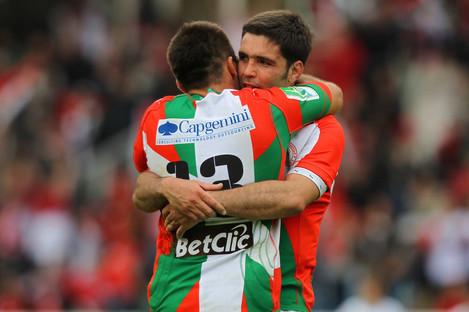 Dimitri Yachvili celebrates Biarritz's Heineken Cup semi-final win over Munster back in 2010.