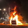 Red Star's open-top bus goes up in flames during league title celebrations