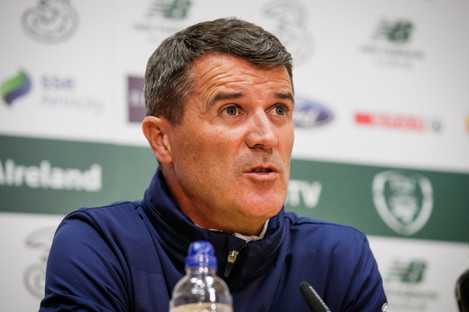Ireland assistant Roy Keane at today's press conference in Dublin.