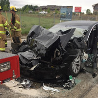 Tesla car, in autopilot mode, speeds up before crashing into parked fire engine