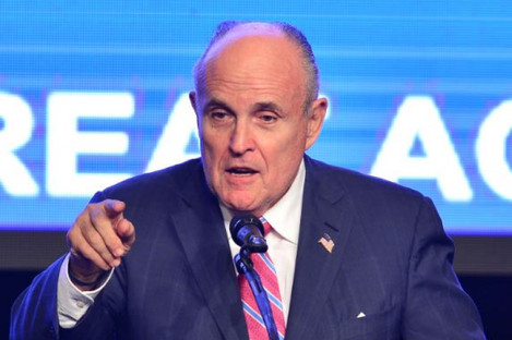 Former Mayor of New York City Rudy Giuliani introduces then Republican presidential nominee Donald Trump during a campaign event in 2016.